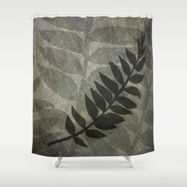 Pantone Hazelnut Abstract Grunge with Fern Leaf - Foliage Silhouettes Shower Curtain