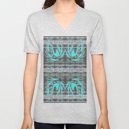 Teal, Grey and Silver Banded Textile Unisex V-Neck