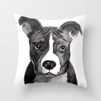 pit bull Throw Pillows featuring Pit Bull Dogs Lovers by Gooberella