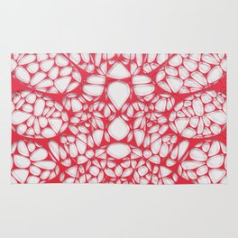 Red on white, organic abstraction Rug