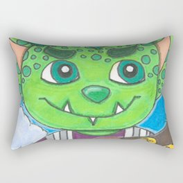 Young Goblin with stuffed dog Rectangular Pillow