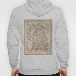 Vintage Map of Michigan (1857) Hoody