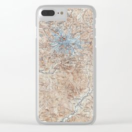 Vintage Mount Rainier Topographical Map Clear iPhone Case