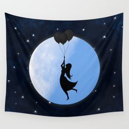 Starry Night Balloons Girl Wall Tapestry