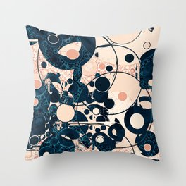 Distressed Navy and Peach Bubble Design Throw Pillow