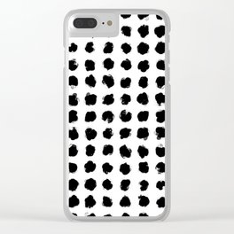 Black and White Minimal Minimalistic Polka Dots Brush Strokes Painting Clear iPhone Case