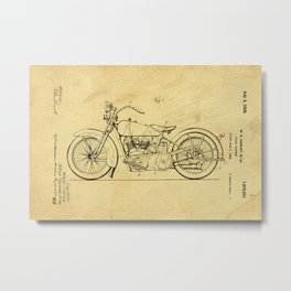 Motorcycle Support Patent Drawing From 1925 Metal Print