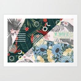 Floral Memphis Art Print