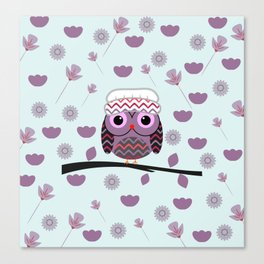 Owl in floral rain Canvas Print
