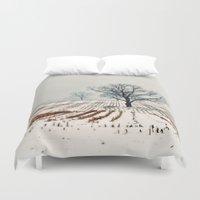 farm Duvet Covers featuring Winter Farm by elle moss