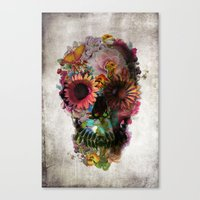 lotus flower Canvas Prints featuring SKULL 2 by Ali GULEC
