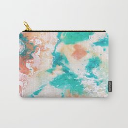 Sea Foam and Pink Abstract Carry-All Pouch