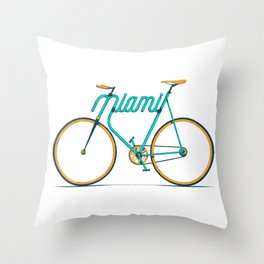 Miami Typo - Bike Throw Pillow