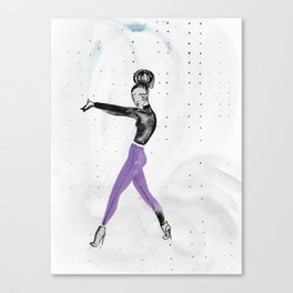 Model Pose in Purple Tights Canvas Print