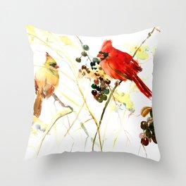 Cardinal Birds and Berries Throw Pillow