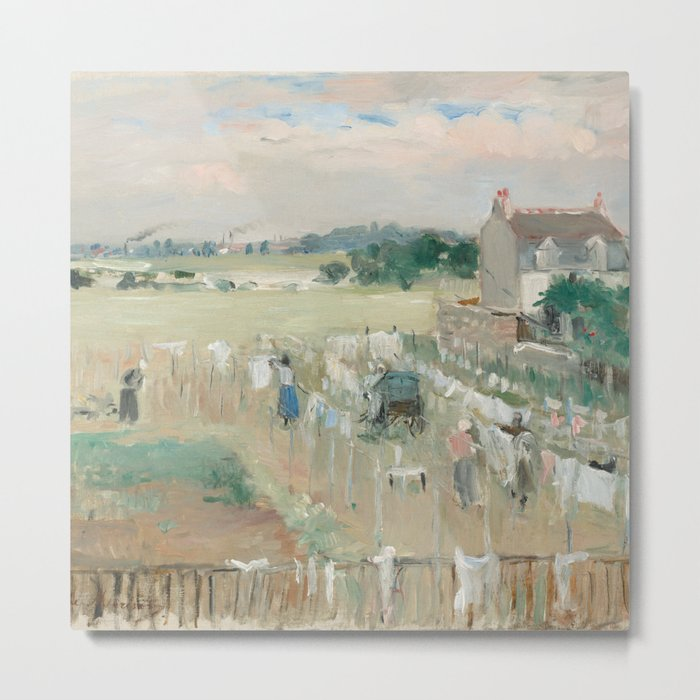 Hanging the Laundry out to Dry by Berthe Morisot Metal Print