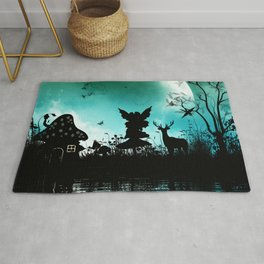 Litte fairy with deer in the night Rug