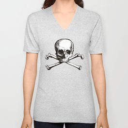 Skull and Crossbones | Jolly Roger | Pirate Flag | Black and White | Unisex V-Neck