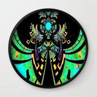 malachite Wall Clocks featuring Aztec Malachite Dragon Calender by SharlesArt