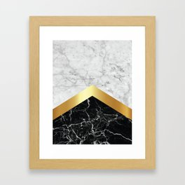 Arrows - White Marble, Gold & Black Granite #147 Framed Art Print