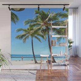 Palm Tree with Hawaii Summer Sea Beach Wall Mural