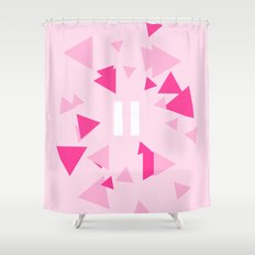 Opposite III Pause Pink Shower Curtain