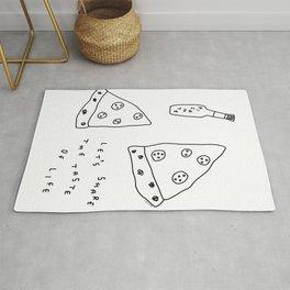Pizza Illustration Line Art Drawing - Let's Share the Taste of Life Rug