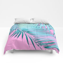 Palm Leaves Pink Blue Vibes #1 #tropical #decor #art #society6 Comforters