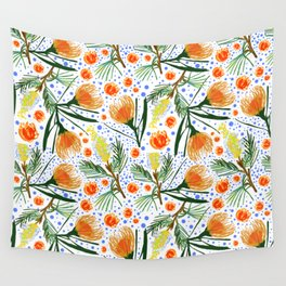 Australian Native Floral Pattern - Grevillea and Pincushion Flowers Wall Tapestry