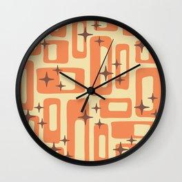Retro Mid Century Modern Abstract Pattern 577 Orange Brown Wall Clock