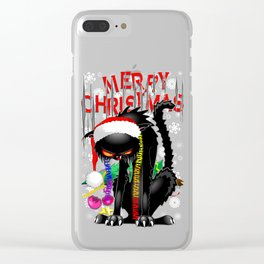 Evil Black Cat VS Christmas Tree Clear iPhone Case
