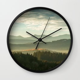 Endless Trees and Mountains Panorama Wall Clock