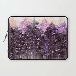 NORTHWEST VIBES Colorful Watercolor Painting Forest Trees Violet Green Modern Nature Art West Coast  Laptop Sleeve