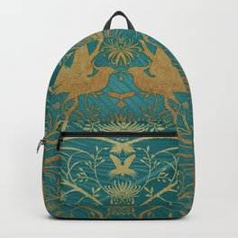 """""""Turquoise and Gold Paradise Birds"""" Backpack"""