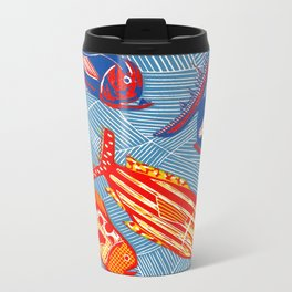 Ocean and Fish - Linocut Metal Travel Mug