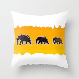 Elephants walking in the savanah Throw Pillow