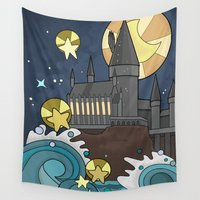 hogwarts Wall Tapestries featuring Hogwarts by Lacey Simpson