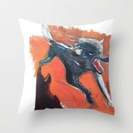 angry dog Throw Pillow