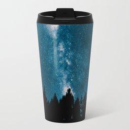 Blue Milky Way At Night Pine Tree Silhouette Stars Night Time Travel Mug