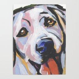 Yellow Lab Labrador Retriever Dog Portrait Pop Art painting by Lea Poster