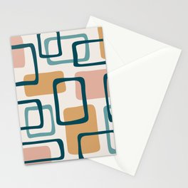 Mid Century Modern Abstract Squares Pattern 444 Stationery Cards