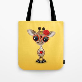 Red and Yellow Day of the Dead Sugar Skull Baby Giraffe Tote Bag