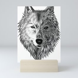 Wolf Artwork Mandala Minimalist Tattoo Decoration Mini Art Print