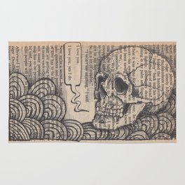 Book Page Art: I Love You Skull Rug