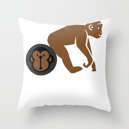 Badass Walking Monkey with Face Shirt Throw Pillow