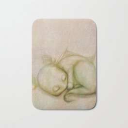Sleeping Baby Dragon Illustration Bath Mat