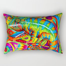 Psychedelizard Colorful Psychedelic Chameleon Rainbow Lizard Rectangular Pillow