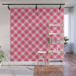 Pink Diagonal Plaid Pattern Wall Mural