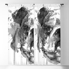 Black And White Half Faced English Bulldog Blackout Curtain