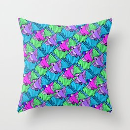 Tessellated Parrots Pink Throw Pillow